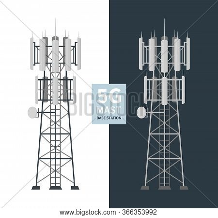 5g Mast Base Stations Set On White And Dark Background, Flat Vector Illustration Of Mobile Data Towe