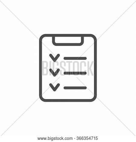 Check List Line Outline Icon Isolated On White. Task Organization. Note, Document, Questionnaire, Ch