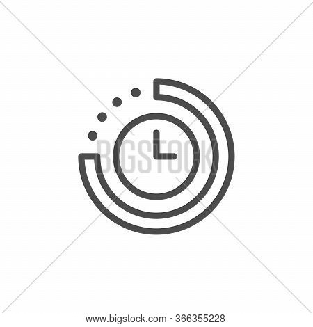 Time Period Line Outline Icon Isolated On White. Watch Interval. Countdown And Deadline Timer. Vecto