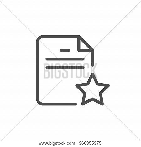 Important Affairs Line Outline Icon Isolated On White. Agreement, Priority Information. Document And