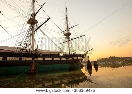 Baltimore Inner Harbor At Dawn, Maryland, United States