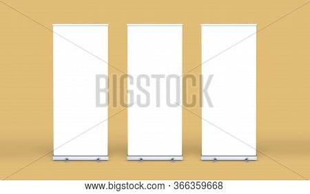 Empty Three Rollup Banners Stand. Blank Template Mockups. Exhibition Stand 3 Roll-up Banners, Screen