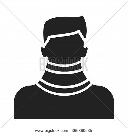 Orthopedic Cervical Neck Collar Black Glyph Icon. Isolated Vector Element.
