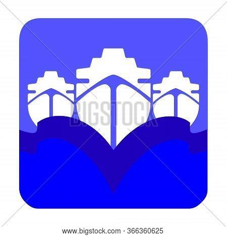 Ship Logo With Sea Waves. Ocean Cruises Or Cargo Shipping Concept Sign.