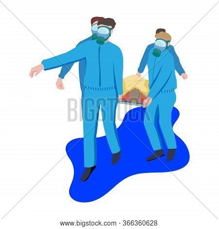 Doctors In Blue Protective Coveralls Carry Patient On Stretcher. Transportation Of Patient By Virus.