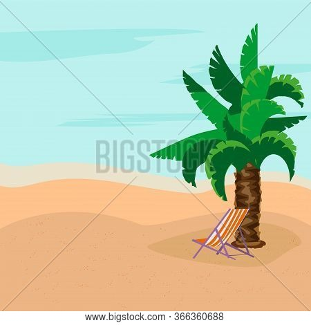 Summer Rest. Sunny Day. Deck Chairs Under The Palm Tree. Warm Sea. Concept Of Relaxation.