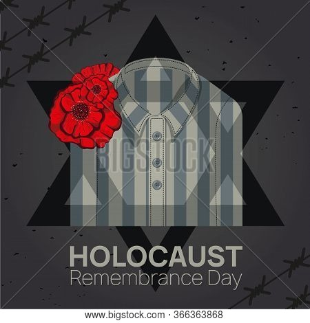 Holocaust Remembrance Day 27th Of January Template. Jewish Star Of David And The Striped Robe Of Vic