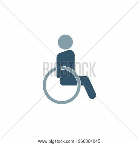 Disabled Color Style Icon. Sign Design. Wheelchair Icon Icon Design Template. Trendy Style, Vector E