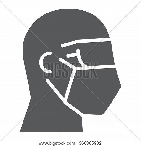 Man In Safety Mask And Goggles Glyph Icon, Covid-19 And Protection, Medical Face Mask With Goggles S