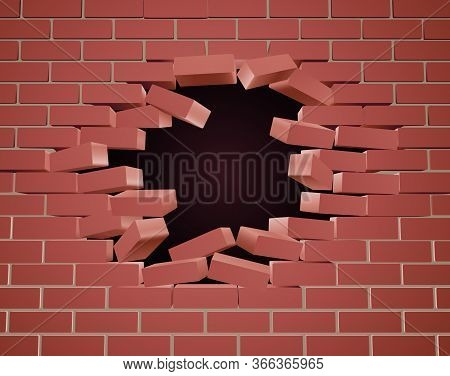 A Breaking Brick Wall Being Blown Apart