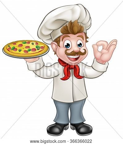 Cartoon Chef Character Holding A Pizza And Giving A Perfect Ok Delicious Cook Gesture