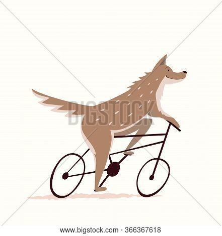 Wolf Or Dog Riding Bicycle Design For Kids, Nursery Design, Cycling Or Racing Symbol. Funny And Cute