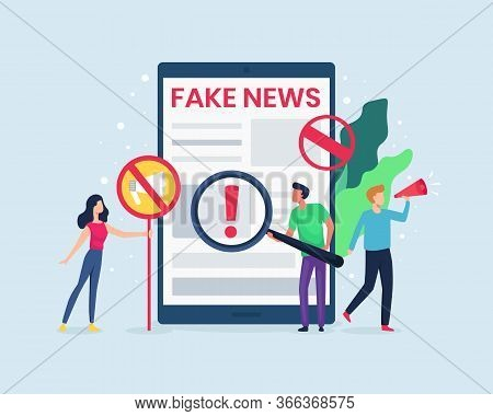 Vector Illustration People Check The News On The Internet. Concept Of Spreading Fake News, Hoax On T