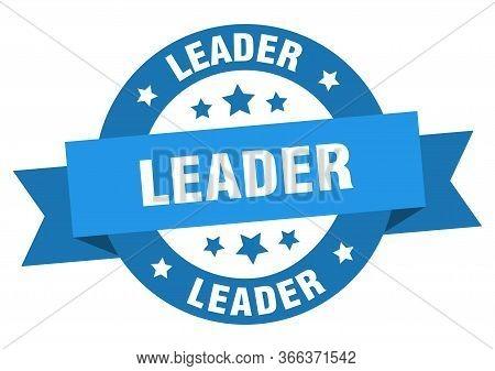 Leader Ribbon. Leader Round Blue Sign. Leader