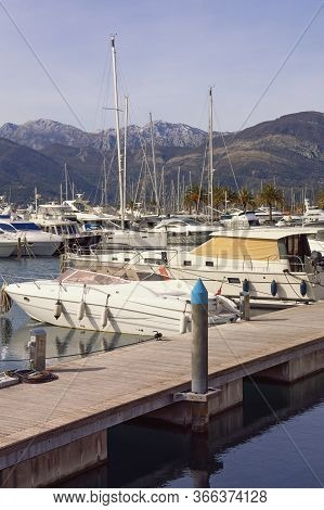 Yacht Marina. Montenegro, Adriatic Sea, Bay Of Kotor, Tivat City. View Of Yacht Marina Of Porto Mont
