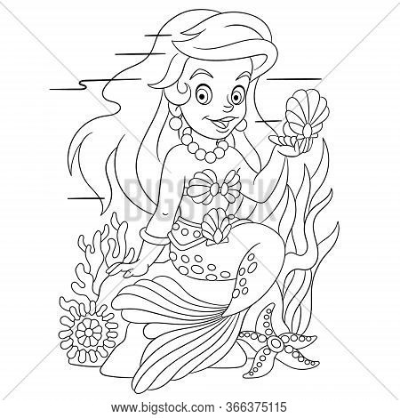 Coloring Page. Coloring Book Picture Of Cartoon Mermaid.