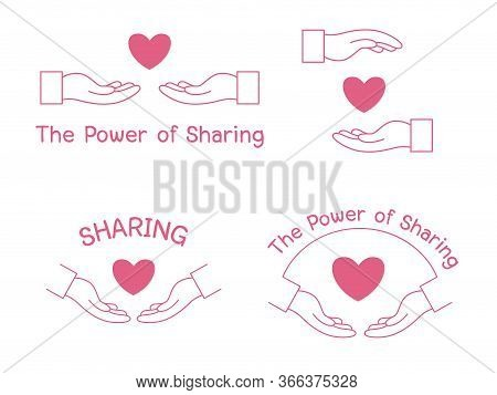 Give Hand Helping The Power Of Sharing Logo Design, Two Hands Helping Another. People Helping Each O