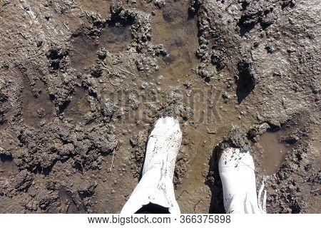 Boots In The Mud. The Feet Of A Man Shod In White Waterproof Boots Made Of Ethylene Vinyl Acetate St
