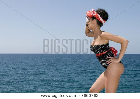 Sexy Pin Up Woman Near The Sea
