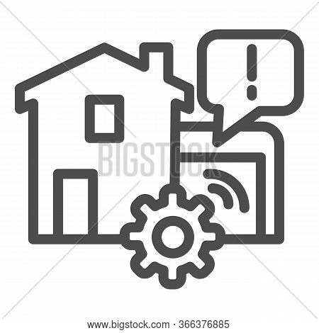 House Garage With Mechanic Gear Line Icon, Smart Home Symbol, Automated Door With Remote Control Vec