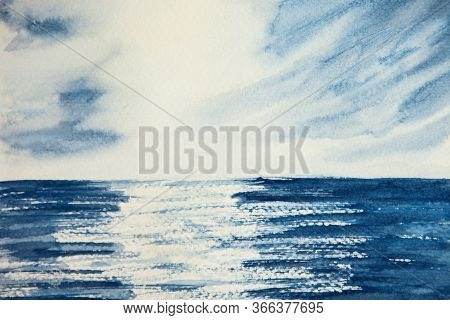 Watercolor Drawing Of Blue Water And Blue Sky. Landscape With Ocean, Sea And Clouds. Illustration Of