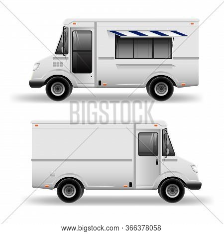 Old School Food Truck - Mockup Set Isolated On Grey. Mobile Kitchen Van. Corporate Identity Element.