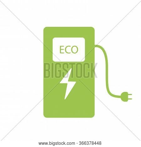 Power Station For Vehicles. Green Car Charger Icon. Green Vector Illustration Of A Hybrid Car Batter