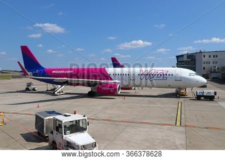 Katowice, Poland - August 22, 2018: Low Cost Airline Wizz Air Airbus A321 Aircraft At Katowice Airpo