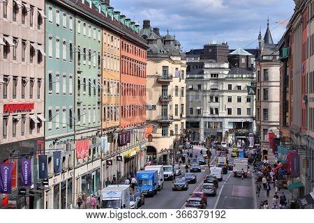Stockholm, Sweden - August 23, 2018: People Visit Kungsgatan Street In Norrmalm District, Stockholm,