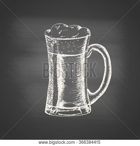 Chalk Drawing Of A Glass Mug With Beer And Beer Foam Overflowing Over The Edge On Chalkboard. Hand D