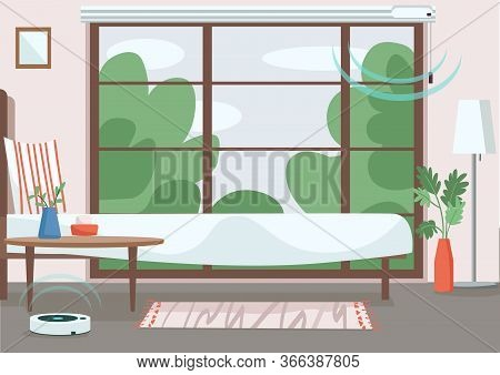 Modern Apartment Flat Color Vector Illustration. Empty Room With Automated Jalousie And Vacuum Clean