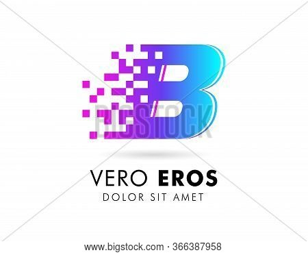 Letter B Logo Design Template. Letter B Logo In Pixel Motion Style With Gradient Color