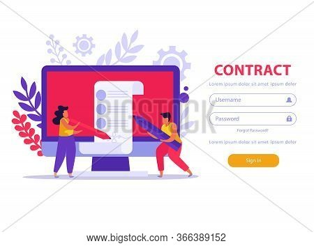 Employment Service And Employment Documents Flat Background With Sign In Fields Button And Doodle Im