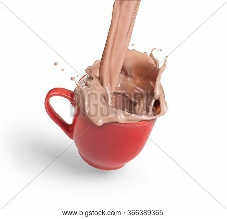 Cocoa Splash In A Red Cup On A White Background