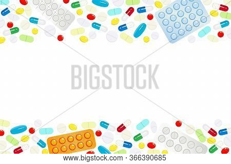 Background With A Horizontal Borders Of Medicines And Vitamins. Design Template For Medical Center,