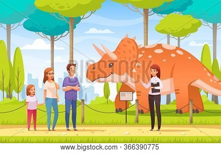 Dinosaurs Cartoon Composition With Human Characters Of Guide And Family Members In Wildlife Reservoi