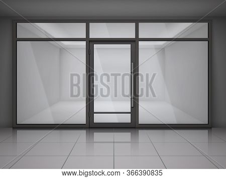 Showcase Store Windows Realistic Composition With Empty Office Or Shop In Grey Colors Vector Illustr