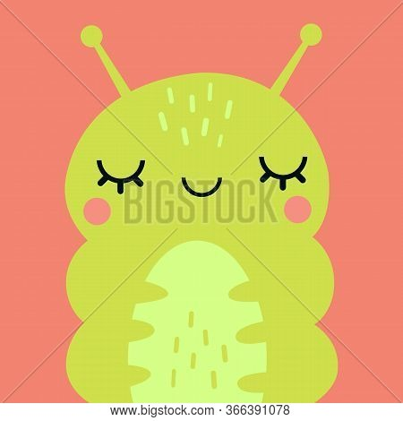 Cute Caterpillar Portrait. Animal Head Flat Vector Illustration.