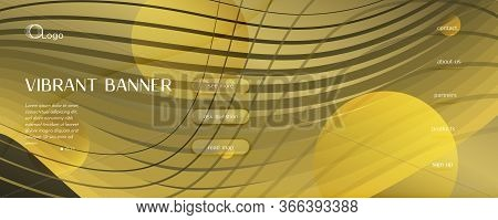 Abstract Vector Curve. Gold Geometric Wallpaper. 3d Flow Shape. Business Poster. Golden Abstract Vec
