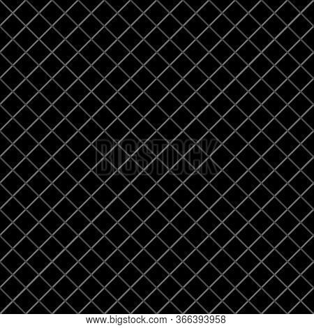 Vector Weave Grid Dense Seamless Pattern Background. Elegant Black And Gray Criss Cross Backdrop. Wo