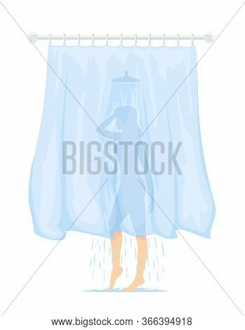 A Slim Woman Behind The Curtain Washes In The Shower. Transparent Curtain In The Bathroom. Cartoon I