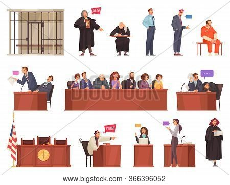 Law Justice Set With Isolated Icons Of Wooden Tribunes And Doodle Style Charactets Of Sitting People