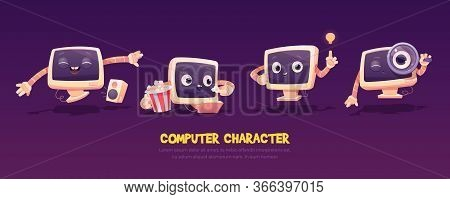 Cartoon Computer Character Set. Cute Pc Desktop In Different Poses. Funny Mascot Dancing With Music
