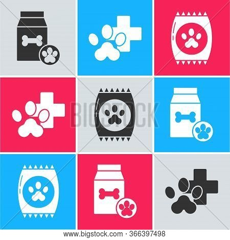 Set Bag Of Food For Pet, Veterinary Clinic Symbol And Bag Of Food For Pet Icon