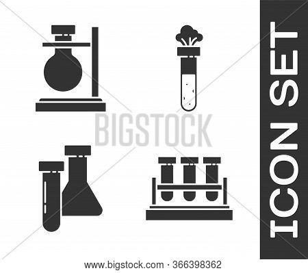 Set Test Tube And Flask Chemical, Test Tube Flask On Stand, Test Tube And Flask Chemical And Test Tu