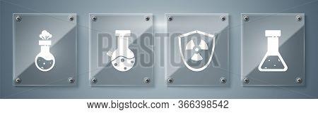 Set Test Tube And Flask Chemical, Radioactive In Shield, Test Tube And Flask Chemical And Test Tube