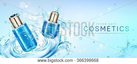 Cosmetic Products In Water Splash. Vector Realistic Brand Poster With Skincare Gel, Cream, Perfume O