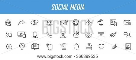 Set Of Linear Social Media Icons. Media Icons In Simple Design. Vector Illustration