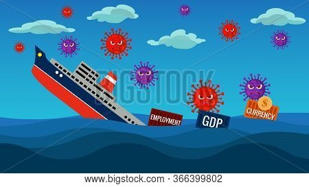 Gdp And The  Economy Shrink  Ahead Due To Coronavirus Pandemic Covid 19.currency Value Decreses, Gdp