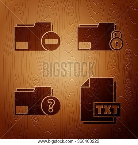 Set Txt File Document, Document Folder With Minus, Unknown Document Folder And Folder And Lock On Wo
